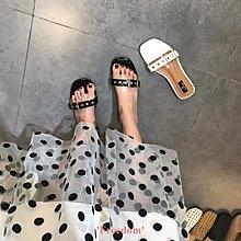 Freedom~女鞋跑量款 透明皮帶扣一字拖鞋女夏季舒適外穿百搭平底涼拖鞋
