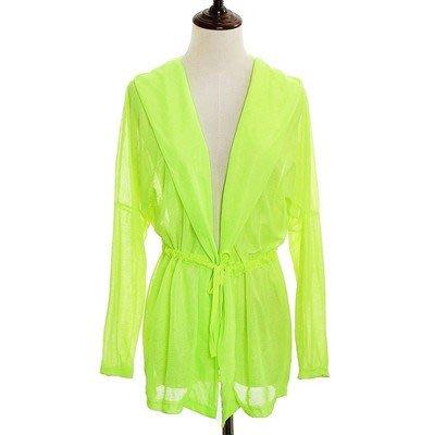 夏季購物優惠: 買5送1@夏日薄款LYCRA系帶防曬外套 NO:05 螢光黃色 $70/件