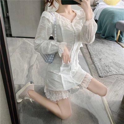 超仙白色蕾絲連衣裙女2020新款春夏設計感洋氣荷葉領刺繡修身短裙