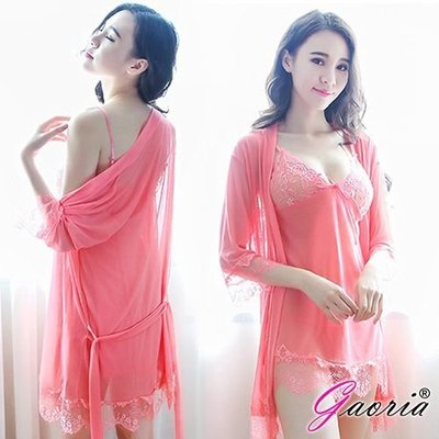 【Gaoria】熱情如火 深V薄紗三件式外罩衫 性感情趣睡衣 粉 N4-0076