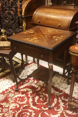 【家與收藏】稀有珍藏歐洲百年古董英國維多利亞時期古典華麗精緻手工Inlaid黑檀木拼花鑲嵌遊戲桌
