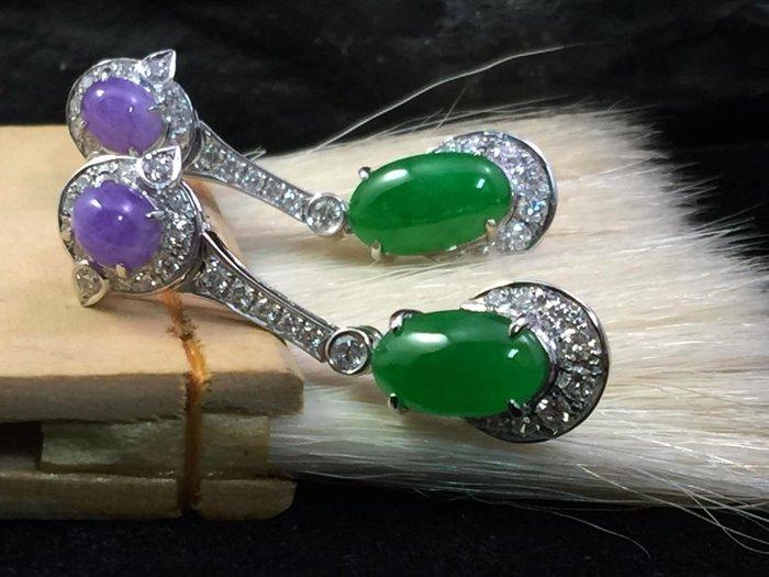 【寶儀珠寶翡翠 】﹝陽綠艷紫羅蘭蛋面造型耳環-18K金﹞﹝天然緬甸A貨玉石翡翠﹞ 美麗經典
