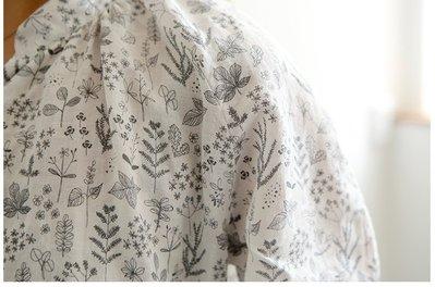 北歐風 素描葉子 水洗加工100%麻布料 大幅寬145公分