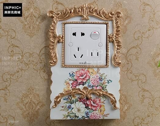 INPHIC-歐式美式奢華開關貼牆貼手機架家居牆飾品客廳臥室插座創意貼-B款_S01870C