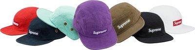 【美國鞋校】預購 Supreme  FW18 Napped Canvas Camp Cap 貼布帽 7色