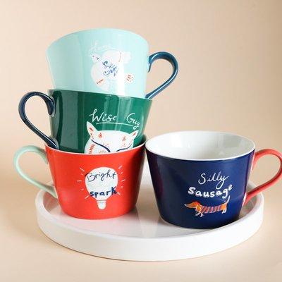 茶百道W2062出口英國陶瓷卡通多色卡通貼畫英文大口馬克杯/早餐麥片碗
