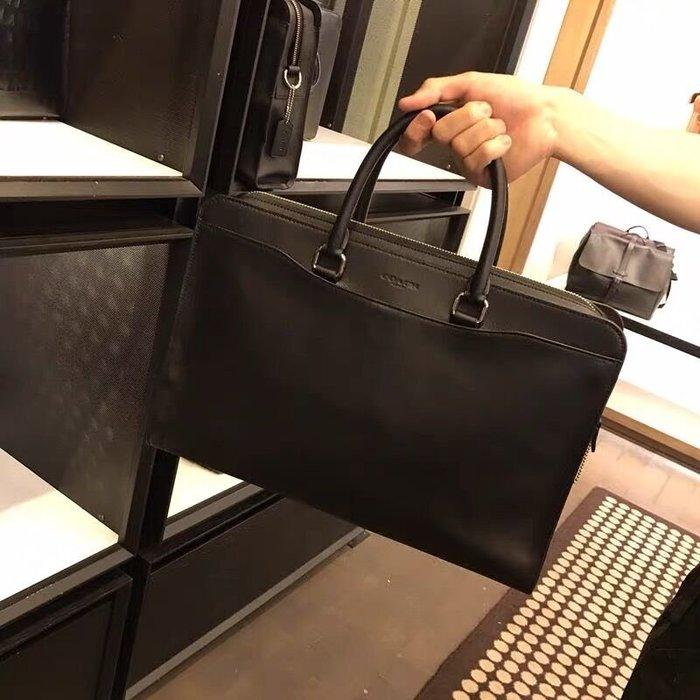 小皮美國正品代購 COACH 73524 新款男士手提公文包 全素面簡約款商務公事包 可單肩斜挎 附購證