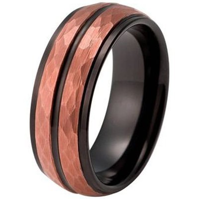 coi jewelry tungsten carbide two tone faceted wedding band ring 戒指