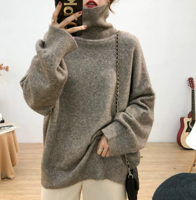 *T.M.L room* 秋冬寬鬆厚實高領大袖口針織毛衣上衣