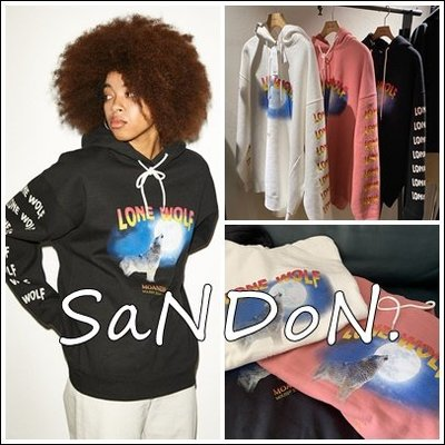SaNDoN :MOUSSY X MOANDMO聯名系列 狼與月精緻印花連帽大學長袖TEE 200307