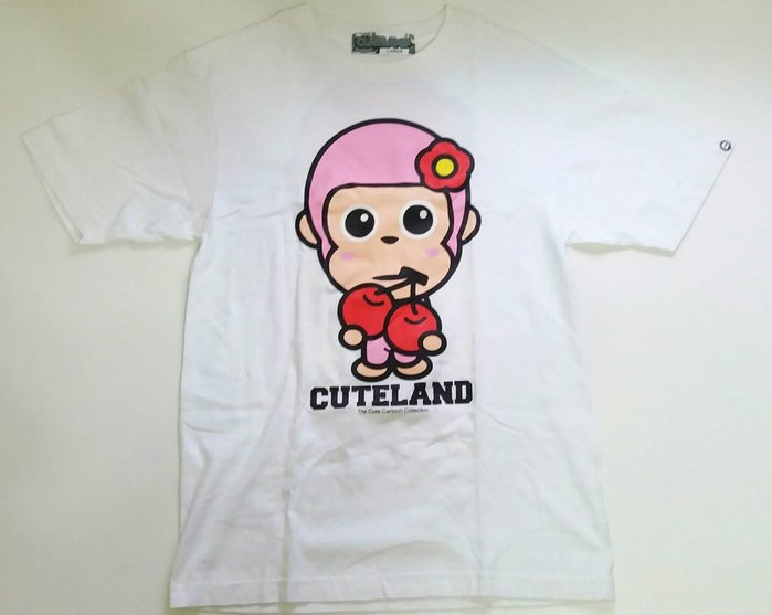 CUTELAND白色粉桃紅色猿猴吃櫻桃趣味翻玩卡通潮牌圖案圖T短袖棉T短T恤休閒服運動衫STAYREAL ROOTS參考