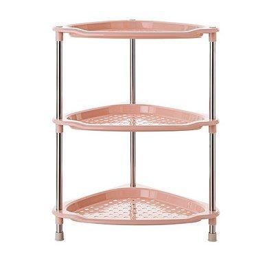廚房多層塑料儲物架大號落地架子衛生間整理架收納架(主圖款-粉色三腳架)