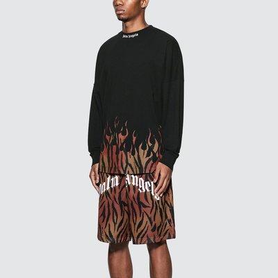 Palm Angels - Tiger Flames Logo Over Long Sleeve T-Shirt 男虎紋火焰Logo印花長T 折扣代購中