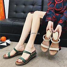EmmaShop艾購物-簡約氣質一字坡跟涼鞋/拖鞋/女鞋