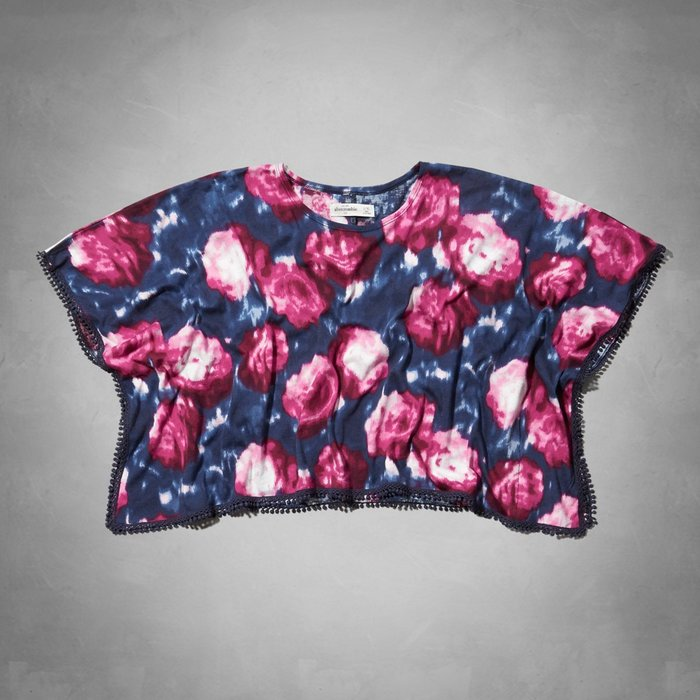 【天普小棧】a&f abercrombie Kids cropped floral poncho披風式上衣罩衫L/XL