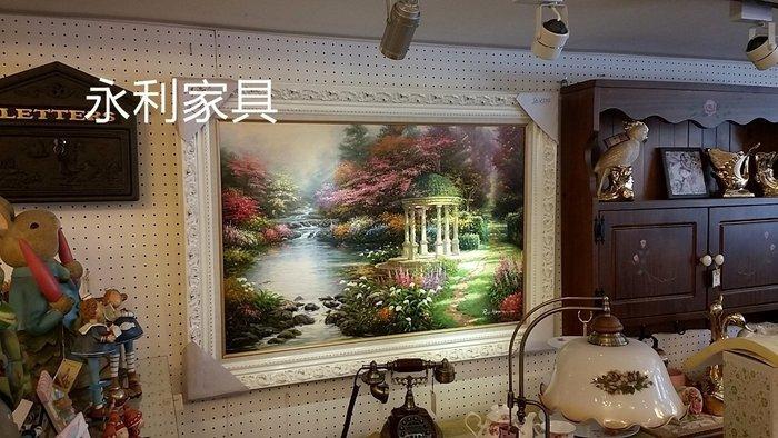 手工涼亭美景油畫~立體化框~質感超優