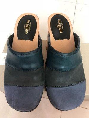 Swedish Hasbeens 瑞典木屐第一品牌藍色漸層色系復古拖鞋 #36