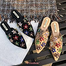 Freedom~女鞋拖鞋女夏時尚 外穿2018新款正韓百搭復古平底尖頭拖鞋 包頭懶人鞋