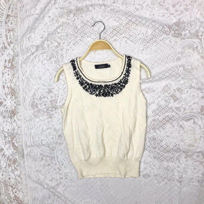 《KUDA》小碎花基本款白色保暖羊毛背心 秋冬美衣上架 詳閱敍述 實拍