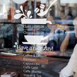 小妮子的家@咖啡廳創意櫥窗營業時間壁貼/牆貼/玻璃貼/汽車貼/磁磚貼/家具貼
