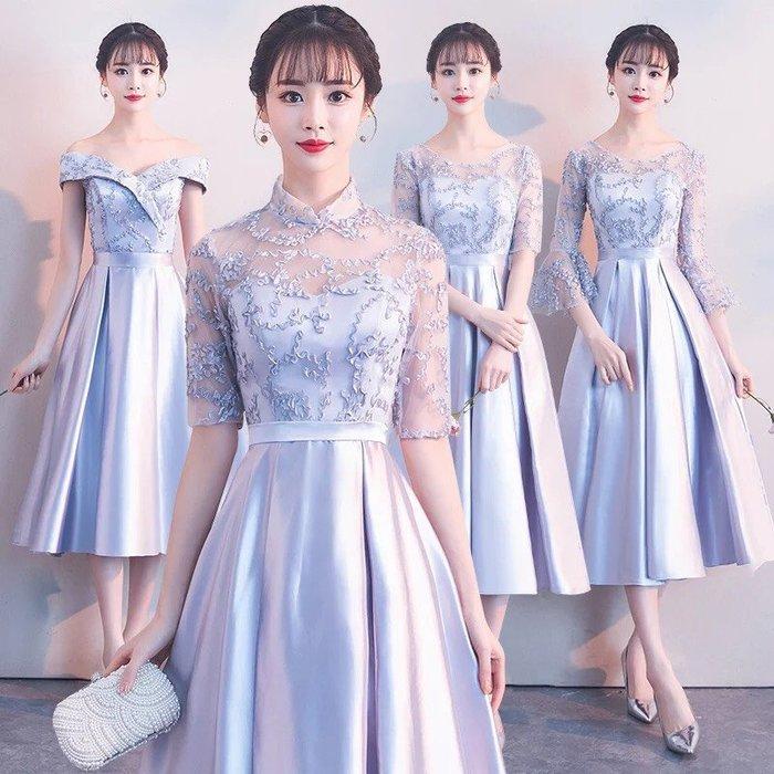 禮服半娘禮服春季2018新款灰色修身婚禮宴會派對禮服中長款姐妹團姐妹裙--崴崴安