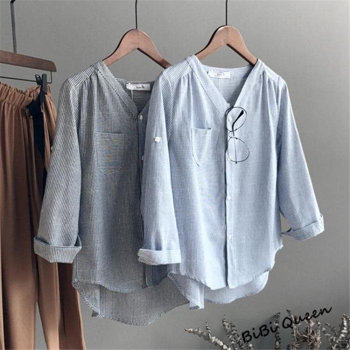 長版襯衫春裝新款韓版寬鬆條紋女百搭學生休閒韓範襯衣上衣