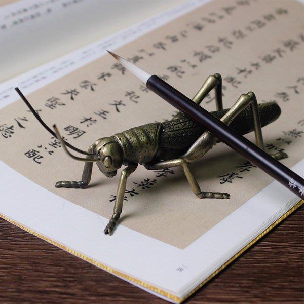 5Cgo【茗道】含稅會員有優惠   531994207664 銅合金螳螂筆擱筆架筆托筆掛毛筆書法文房用品