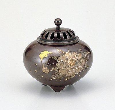 【新月集】日本高岡銅器  雕金 牡丹 香爐