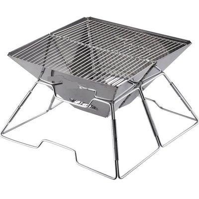 戶外露營不鏽鋼多功能烤肉架 焚火台 營火 炊事 燒烤 BBQ燒烤爐 -附贈收納袋