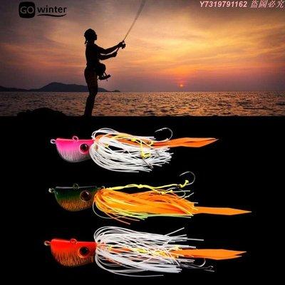 【限時下殺】海釣魚餌 炎月鐵板路亞假餌 45g、65g,85g鬍鬚佬章魚魷魚鉛頭鉤 新品促銷