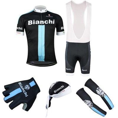 【綠色運動】2015款比安奇Bianchi 5件套組合 車衣+吊帶短褲+頭巾+手套+袖套 腳踏自行車衣車褲背帶短套裝