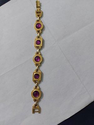 (搬家大出清)Vintage 美國品牌 Monet 手環,黃金色澤金鍊長約19公分。圓形直徑寬約1.5公分,方形約1.2*1.2公分 古董 黃金 dior 夏姿