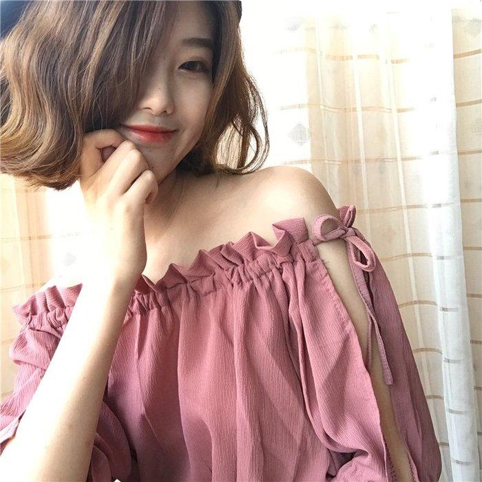 夏季韓版寬鬆繫帶露肩一字領雪紡紗短袖休閒衫-4色❤麻豆實拍❤8046
