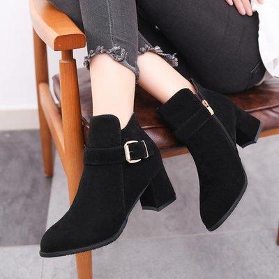 ☜男神閣☞短靴女粗跟高跟2018新款復古百搭時尚馬丁靴磨踝靴女靴夏