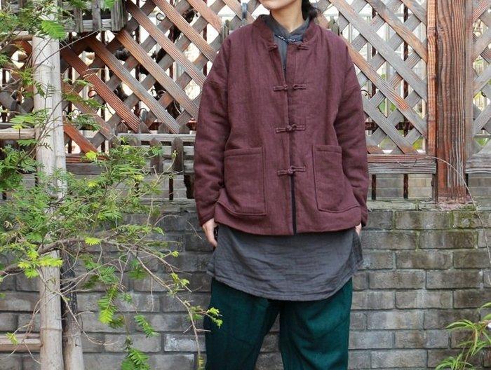 【子芸芳】原創水洗亞麻中式盤扣立領鋪棉外套