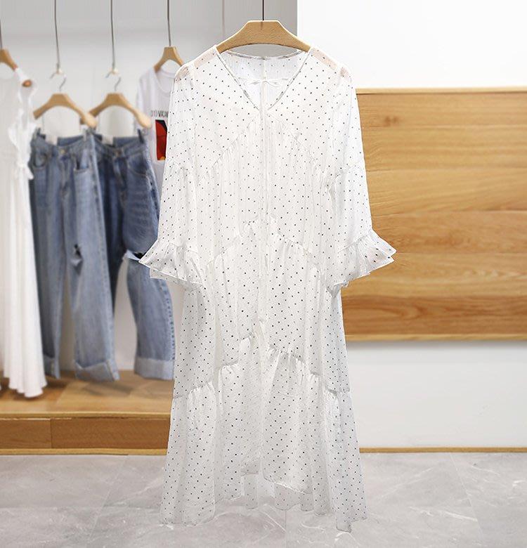 【木風小舖】二件式 荷葉袖大裙擺 滿版星星雪紡洋裝*白