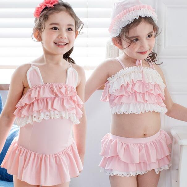 莎芭 韓版兒童連體女童泳衣 可愛裙式中小童1-7歲寶寶泳裝 套裝