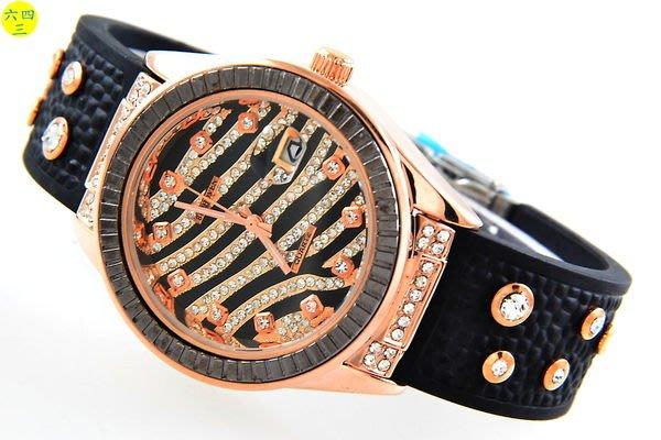 (六四三精品)豹紋錶面.玫瑰金面.玫金色錶殼.黑外框.水晶鑽.矽膠帶.摺疊扣精準錶!