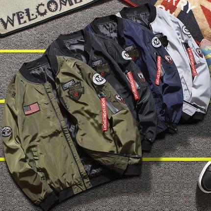 [C.M.平價精品館]M~4XL/帥氣有型圖貼飛行外套  黑色/軍綠色/灰色/藍色