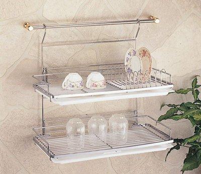 ☆成志金屬☆S-252D-1G #304不銹鋼雙層杯盤架碗盤置物架附掛桿,大容量經典款式