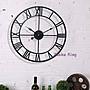 美式復古時鐘 loft工業風仿舊羅馬字簍空掛鐘...