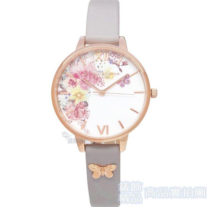 OLIVIA BURTON 手錶 OB16EG129 魔法花園 閃耀玫瑰金蝴蝶 灰皮帶 女錶34mm【錶飾精品】