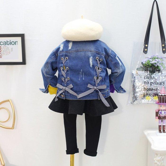寶貝韓版童裝女童韓國2018秋季新款甜美綁帶長袖牛仔外套開衫