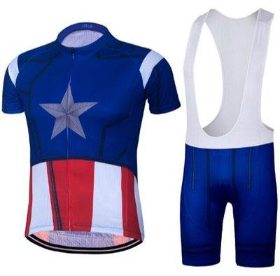 美國隊長Captain America騎行服背帶短袖套裝自行車單車 山地單車越野騎士服 運動短袖T恤 緊身上衣+背帶褲子