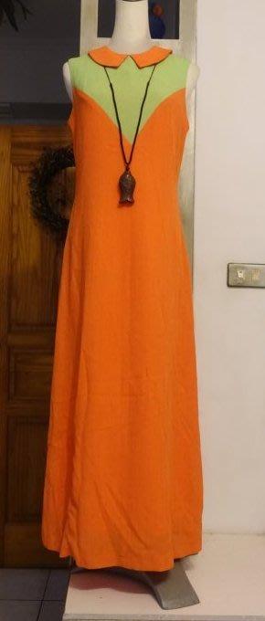 [C.M.平價精品館]L現貨最後一件出清特價/設計師精品專櫃/日本進口素材知性有型小圓領橘色無袖長版洋裝