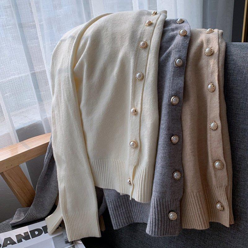 新品專櫃質感秋毛毛針織 親膚珍珠釦細膩仿兔絨小外套 艾爾莎【TAE8508】