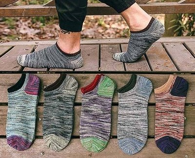 AJKE【M076】日本韓國品牌襪  復古文藝混色全棉男船型襪  四季材質舒適好穿 船隱形男襪