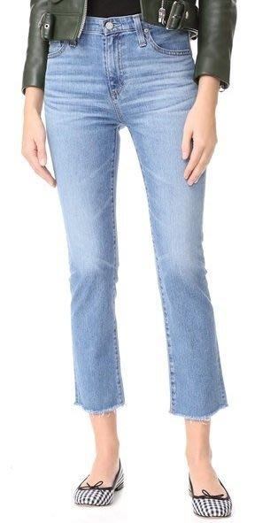 ◎美國代買◎AG The Isabelle抽鬚褲口淺藍刷色波紋復古高腰八分抽鬚褲口小喇叭牛仔褲
