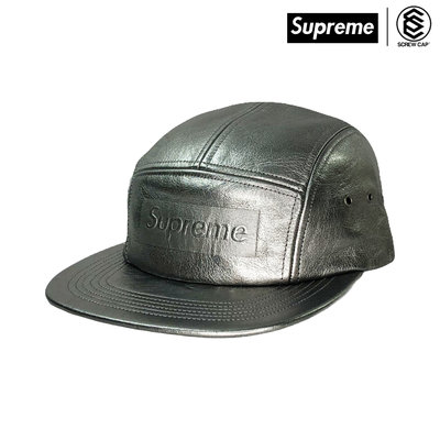 SUPREME PEBBLED LEATHER CAMP CAP GUNMETAL 五分割 五分割帽⫷ScrewCap⫸