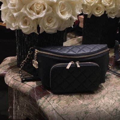Chanel AS0465 Bi Quilted Waist Bag 鍊帶腰包 黑